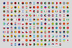 Free Round National Flags. World Countries Flag Circles, Official Country Rounded Symbols Vector Set Royalty Free Stock Photos - 156776538