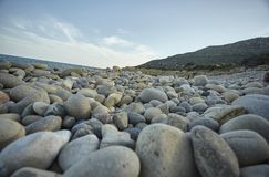 Round Natural pebbles beach. Detail of some white pebbles on a typical beach of the southern coast of southern Sardinia in Italy, with the background of the rest royalty free stock image