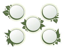 Round nature elements. Round banners with leaf decoration Royalty Free Stock Photo