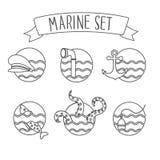 Round nautical icons Royalty Free Stock Photo