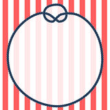 Round navy blue rope frame with a knot on striped background, vector Royalty Free Stock Photos
