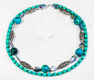 Round necklace from chrysocolla and turquoise Royalty Free Stock Image