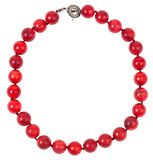 Round necklace from red sponge coral beads Royalty Free Stock Image