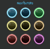 Round neon buttons Royalty Free Stock Photography