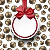Round New Year background with red bow. Round New Year background with Christmas balls and red bow. Vector illustration Stock Image