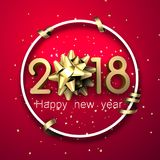 Round 2018 new year card with bow. Pink 2018 new year background with golden bow and serpentine. Vector illustration.r Stock Photo