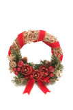 Round New Year's wreath. On a white background Royalty Free Stock Images