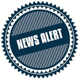 Round NEWS ALERT blue sticker. Royalty Free Stock Images