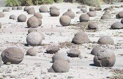 Round o-shaped stones in Ischigualasto desert, Argentina Royalty Free Stock Photo