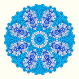 Round octagonal ornament. Shades of blue, oriental style Stock Images