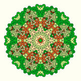 Round octagonal ornament. Shades of green and orange, oriental style Royalty Free Stock Photo