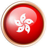 Round odznaka z HongKong flaga Fotografia Royalty Free