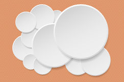 Round offer paper sticker or badges, white banners set. Circle buttons. Vector label tag on orange squared background. Round offer paper sticker or badges Stock Photos