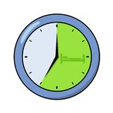 Round office clock showing seven o`clock. Flat design icon. Flat vector illustration. Isolated on white background. Round office clock showing seven o`clock stock illustration