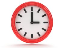 Round office clock shows three o'clock. On white Stock Image
