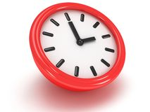 Round office clock shows three o'clock. On white Royalty Free Stock Images