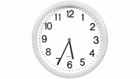 Round office clock. Office clock on a white background stock illustration