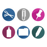 Round office supply flat icons collection. Round office flat icons collection - glue, paper clip, pin, folder, pen stock illustration