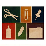 Flat office supply flat icons vintage collection. Flat office flat icons vintage collection - glue, paper clip, pin, folder, pen stock illustration