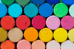 Round oil pastels crayons Royalty Free Stock Images