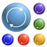Round okręgu strzałkowate ikony ustawiający wektor ilustracja wektor
