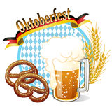 Round Oktoberfest Celebration banner with beer, pretzel,wheat ea Royalty Free Stock Images