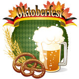 Round Oktoberfest Celebration design with beer and pretzel Stock Photo