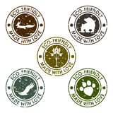 Round old distort eco stamp vector set for use in design Royalty Free Stock Image