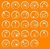 Round One Stroke Icon Set. A set of 24 unique hand drawn round icons Royalty Free Stock Images