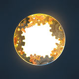 Round opening with gears made of rusty metal Royalty Free Stock Image