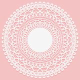 Round openwork napkin. Frame with subtle white weave on a pink background. Vector illustration Stock Image