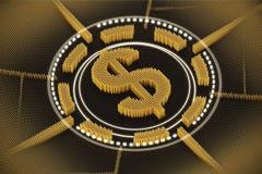 Orange dollar sign emblem Stock Photo