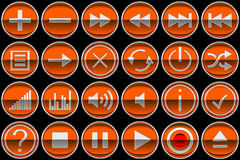 Round orange Control panel icons or buttons Stock Image