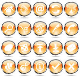 Round orange icons. Orange glossy web icons with metallic frames Royalty Free Stock Image