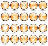 Round orange icons. Orange glossy web icons with metallic frames vector illustration