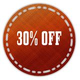 Round orange pattern badge with 30 PERCENT OFF message. Illustration graphic design concept image Stock Photo