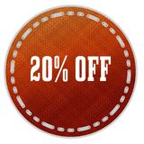 Round orange pattern badge with 20 PERCENT OFF message. Illustration graphic design concept image royalty free illustration