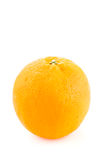 Round orange with peel. One whole round orange unpeeled on a white background Stock Photos