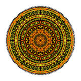 Round oriental pattern. Tribal round ornament, folk pattern in orange, yellow and black colors Royalty Free Stock Photos