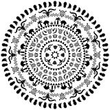 Round ornament with animals, vases, drums Stock Photos