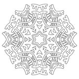 Round ornament for coloring books. Black, white pattern. Lace, snowflake. Round ornament for coloring books. Black, and white pattern. Lace, snowflake Stock Images