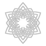 Round ornament for coloring books. Black, white pattern. Lace, snowflake Stock Photo