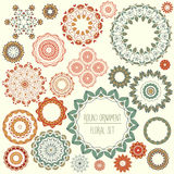 Round ornament floral set Royalty Free Stock Image