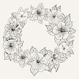 Round ornament frame with hibiscus flower Stock Photography