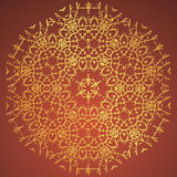 Round Ornament, Oriental vector pattern with tribal elements. Traditional ornament. Brown and golden colors.  Stock Images