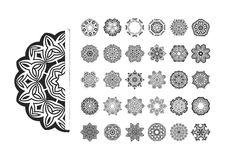 Round ornament pattern set. Royalty Free Stock Photos