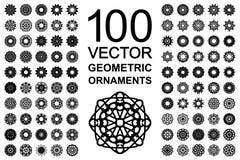 Round Ornament Set. Round geometric ornaments set. 100 vector spirographs Stock Photo