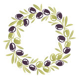 Round ornament Wreath of black and green olives Royalty Free Stock Images