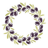 Round ornament Wreath of black olives Royalty Free Stock Photos