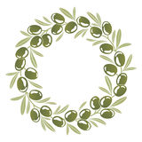 Round ornament Wreath of green olives Stock Photos